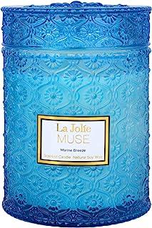 LA JOLIE MUSE Marine Breeze 香薰蜡烛,* 天然大豆蜡烛,90 小时长时间燃烧,大玻璃罐蜡烛,19 盎司(约 550 克)