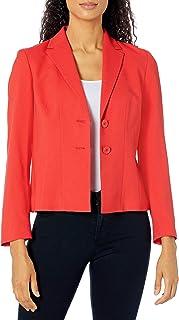 Kasper 女式绉纱缺口领 2 粒扣夹克