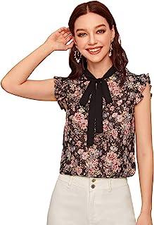 WDIRARA 女式 夏季 Ditsy 花卉 纽扣 褶皱 上衣 衬衫