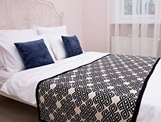 SAOL 针织床上用品围巾,柔软混纺(*蓝,大号双人床)