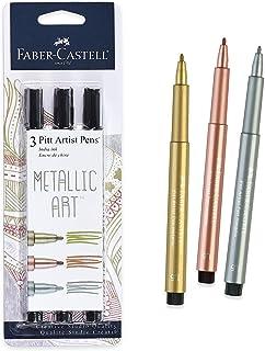 Faber-Castell Metallic Pitt 艺术家笔 - 3 色金属颜色 - 光滑子弹笔尖 Classic Metallic FBR770090