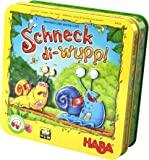 HABA 304026 蜗牛快跑(Schneck-di-wupp!),趣味跑格桌游,带骰子和磁性蜗牛,适用于2-4名5…