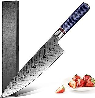 XITUO 厨师刀 8 英寸,日本 67 层大马士革钢 VG10 Gyuto 刀树脂蜂窝手柄厨房刀 - 刀鞘和礼品盒