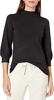 Amazon Brand - Lark & Ro 女式七分袖气球袖褶皱企领毛衣
