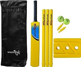 SPORTAXIS 高级后院板球套装 - 海滩板球 - 蝙蝠、球、树桩、保龄球和手提袋