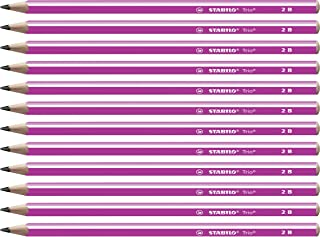 STABILO 369/01 – 2B 三角 - 小学生铅笔, 12件装, 硬度2B 12er-Pack 粉红色