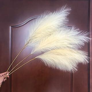 人造Pampas 草,3 件人造芦苇 43 英寸/110 厘米大号干草,适用于家居装饰和花卉布置-奶油色