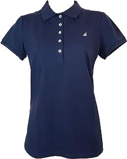 Nautica 女士短袖弹力纯色 Polo 衫