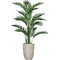 复古家居装饰*翡翠人造棕榈树,带纤维素花盆,适用于家居装饰,56 英寸(约 142.2 厘米),多色