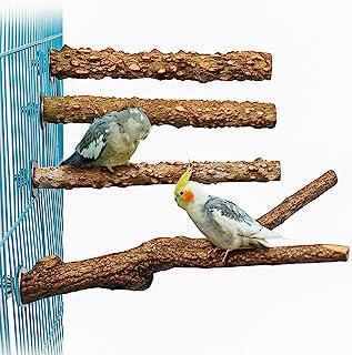 4 件木质鸟栖息架,适用于笼子,木质仙人掌鹦鹉鲈鱼爪磨攀岩站立杆锻炼玩具鸟架笼配件,适用于小矮人、长尾鹦鹉、鹦鹉、锥体、爱鸟 (H01)