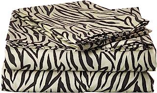 Clara Clark ® Signature 820 Collection 3 pc Bed Sheet Set, Twin Size, Zebra Animal Print, Tan Cream