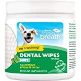 TropiClean Fresh Breath 无刷牙清洁牙齿牙齿和口腔护理牙齿湿巾,适用于宠物,50 片