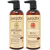 Pura D'or 专业级金标生物素防掉发2X浓缩活性洗发水和护发素套装 经测试-无硫酸盐,天然成分-适合所有毛发类型…