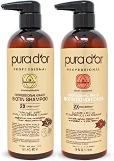 Pura D'or 专业级金标生物素防掉发2X浓缩活性洗发水和护发素套装 经测试-无硫酸盐,天然成分-适合所有毛发类型,男女