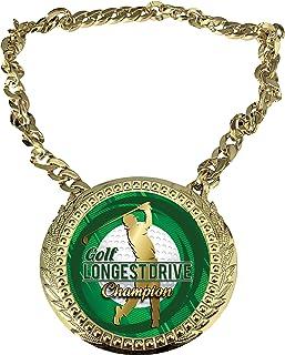 Express Medals 高尔夫*长驱动冠军链*杯,带中心斑块,尺寸为 15.24 x 13.32 厘米,包括一条 86.26 厘米链子和黑色天鹅绒礼品袋。