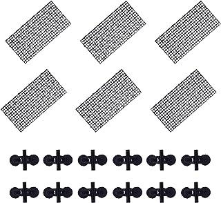 无品牌水族箱隔板 6 件黑色水族箱网格隔板 水族箱过滤底部隔离带 12 个黑色夹头夹
