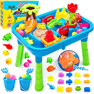 Bfuntoys 幼儿儿童室内户外玩耍沙桌 2 合 1,夏季后院沙滩玩具适合男孩女孩的户外活动(新版 67 件)
