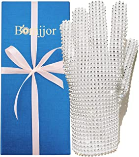 BOMJJOR 迈克尔·莱茵石手套 Billie Jean 手套 MJ 粉丝朋克手套礼品系列