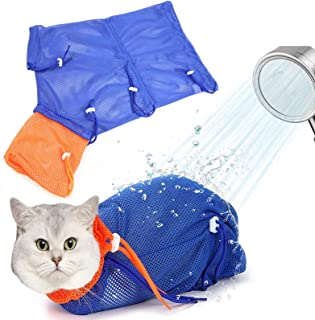 Broadsheet 猫浴包,蓝色可调节网眼猫*洗涤袋,防咬防刮猫清洁淋浴束缚袋网,宠物猫包适用于*修剪沐浴用品