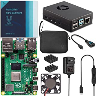Vilros Raspberry Pi 树莓派 4 基本入门套件,带风扇冷却重型铝合金外壳(4GB,黑色)