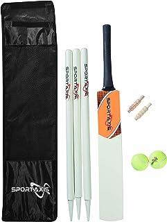SPORTAXIS - 木制板球套装 - 包含球棒、2 个轻网球、3 个桩子、2 个保镖和时尚手提袋 - 非常适合海滩和后院板球,适合青少年。