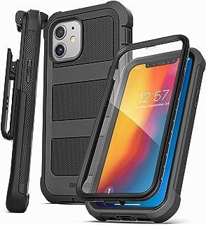 Encased Falcon Armor 专为 iPhone 12 设计的迷你手机壳,带内置屏幕保护膜 - *保护全身保护套,带皮带夹皮套(黑色)