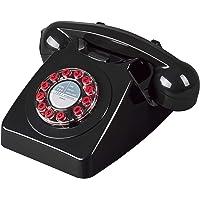 Wild Wood 746 旋转设计复古地线电话,黑色