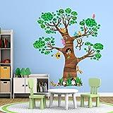 Decowall DL-1709 巨树和动物儿童墙贴墙贴 即剥即贴 儿童托儿所卧室客厅