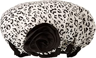 Kella Milla 时尚缎面浴帽,黑色/白色豹纹