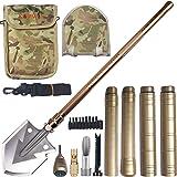 折叠铲和野营多功能工具 - 带重型刀片的生存铲。 便携轻便*级野营铲和入门工具,用于徒步旅行、雪地、背包和汽车*。