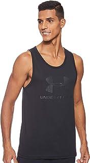 Under Armour 安德玛 运动休闲徽标紧身背心,男士背心,柔软手感和宽松剪裁,时尚的男士无袖T恤,带有图案设计