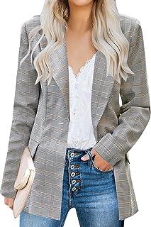 Uqnaivs 女式翻领西装纽扣长袖口袋工作办公室夹克