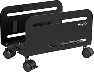 VIVO 黑色电脑桌面 ATX 保护壳 CPU 钢制滚架可调节移动车座锁定轮 (CART-PC01)