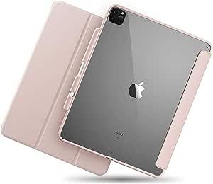 TineeOwl Mocha iPad Pro 12.9 保护套 2020 & 2018(* 4 代和* 3 代)超薄透明保护套,带铅笔架 + 三折支架套,吸收冲击,轻便(粉色)