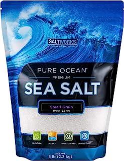 SaltWorks 纯海洋盐,小谷物,5 磅散装袋,80 盎司(约 2.3 千克)(约 2.3 千克)