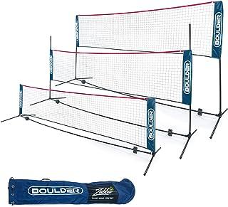Boulder 便携羽毛球网套装 – 网球、足球网、皮球、儿童排球 – 易于设置尼龙运动网带杆 – 室内或室外球场、海滩、驾驶道