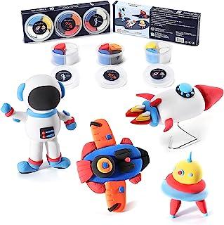 CraftyClay 儿童模型粘土 - 风干模型粘土套装(3 杯套装)(航天器)