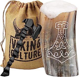 "Horn Mead 杯高脚杯/玻璃杯和斧头开瓶器(2 件套)- ""抛光""设计""雷神锤"""