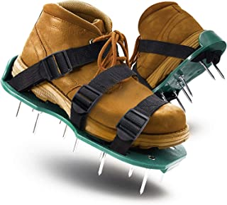 LASTOOLS 草坪曝气器鞋尖充气凉鞋重型均码 & 易于使用的单带设计和防滑园艺鞋
