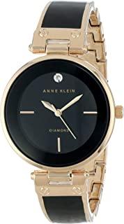 Anne Klein AK / 1414BKGB 女士钻石饰手镯手表,黑色