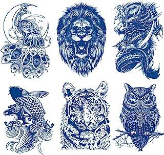 Oottati 6 张半永久性假防水临时纹身贴纸可长期使用 1-2 周,动物套装孔雀狮子锦鲤鲤鱼虎龙深蓝