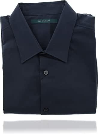 Perry Ellis 男式 Collard 系扣长袖设计师衬衫(L 码)蓝色