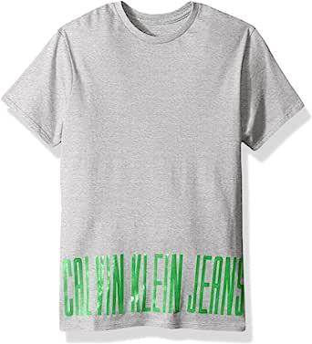 Calvin Klein 男孩边框徽标圆领 t 恤