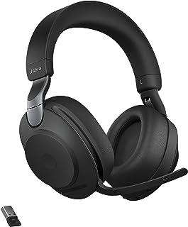 Jabra 捷波朗 Evolve2 85 UC 无线耳机 带 Link380a 立体声 黑色 无线蓝牙耳机 适用于通话和音乐 37 小时电池寿命 高级降噪耳机