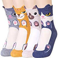BALMOA 女襪禮品套裝 - 動物貓狗藝術卡通人物有趣 - 禮品襪 - 女士圣誕節禮物