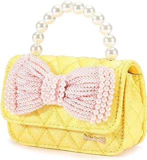 送给小女孩的礼物,迷你儿童钱包婴儿闪光蝴蝶结手提包小号幼儿斜挎包(黄色)