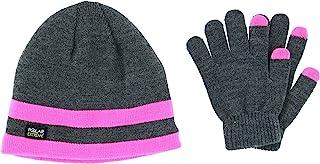 Polar Extreme 女孩均码双条纹帽子和短信手套套装