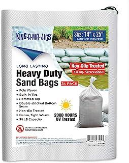KING-A-MA-JIGS 24 件装 - 沙袋 - 坚固,*聚乙烯带系带 - 防紫外线 - 35.56 x 63.5 厘米 - 防滑外层沙袋,便于堆叠