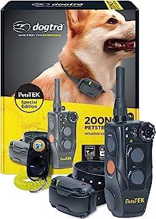 Dogtra 200NCPT 电子小狗训练项圈,带有适合小型犬到大型犬的遥控器-2640英尺(约804.67米)的距离,振动,音调,100个刺激等级,安全锁,防水,可充电,PetsTEK版