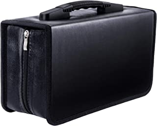 Vicoter CD 保护套 128 容量 PU 皮革 CD/DVD 钱包活页夹,便携式拉链 CD 盒,CD 盒存储架,CD 小册子活页夹,VCD 钱包收纳架,适用于家庭汽车旅行办公室(PU 黑色)